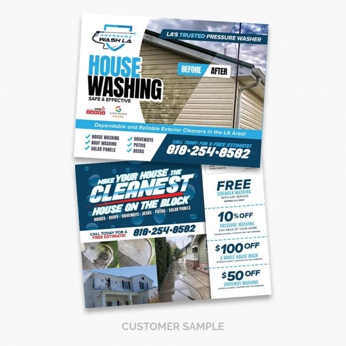 Pressure Wash LA Coupon Post Card Design