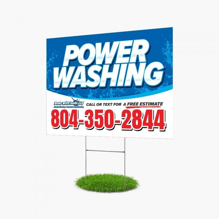 Budz with Sudz Custom Yard Sign Design for Power Washing