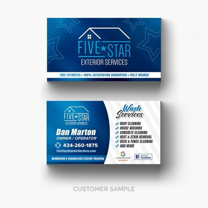 Five Star Exterior Services Blue Business Card Design