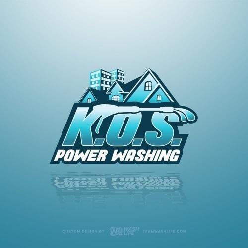 KOS Power Washing Logo Design Preview